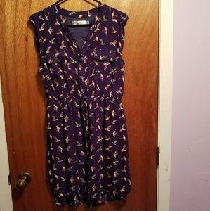 Bird print summer dress
